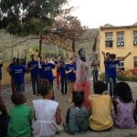 Youth drama team sharing the gospel through music and drama to the village of Orgaos.